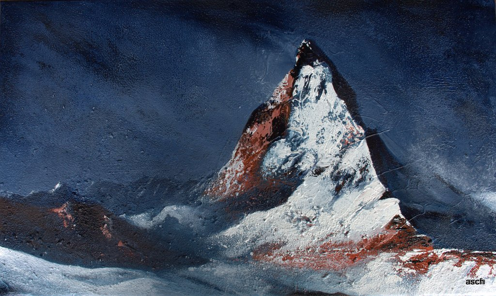 matterhorn mixed media on canvas