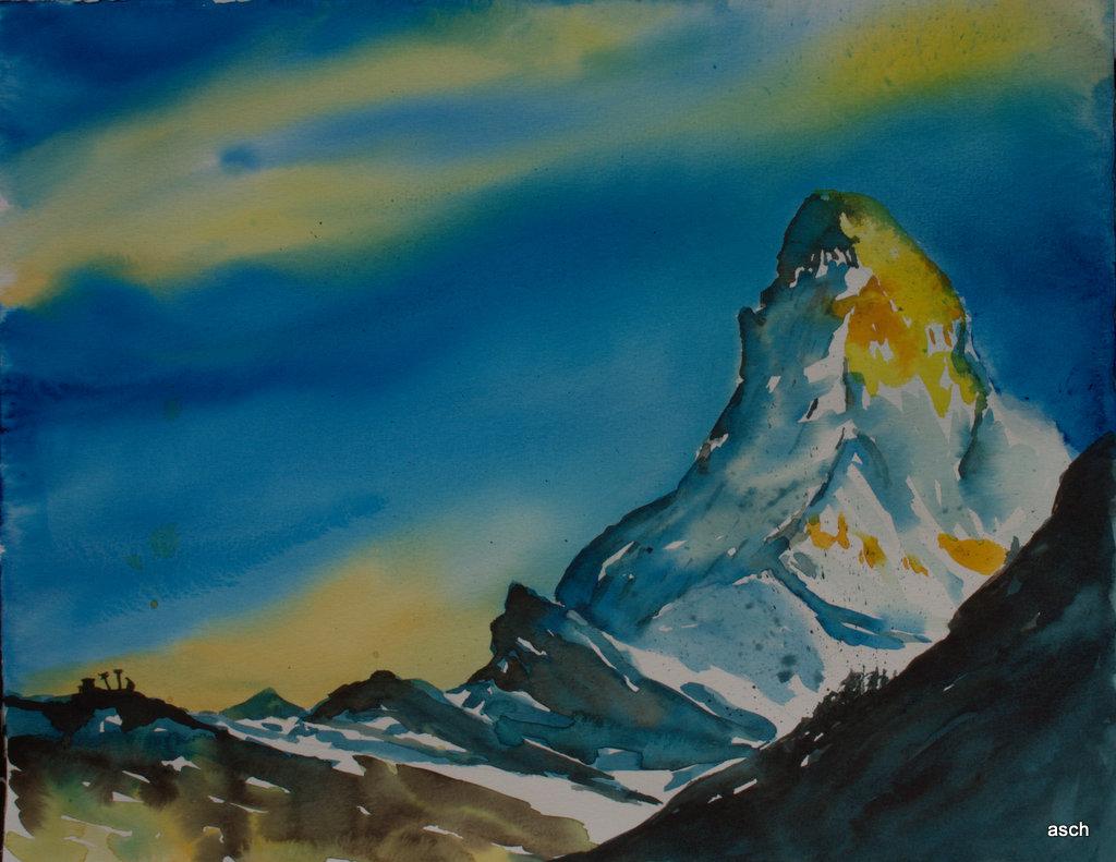 matterhorn watercolour painting