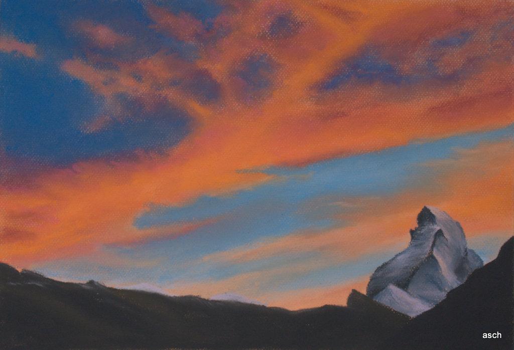 matterhorn pastel drawing