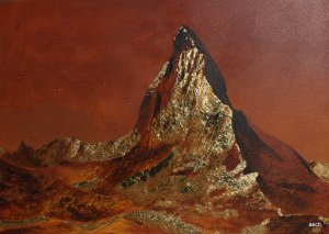 matterhorn mixed media with metal foil