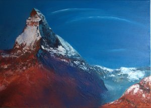 matterhorn mixed media painting
