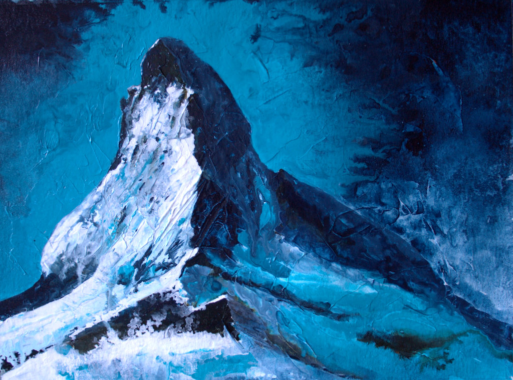 matterhorn acrylic ink on gessoed paper