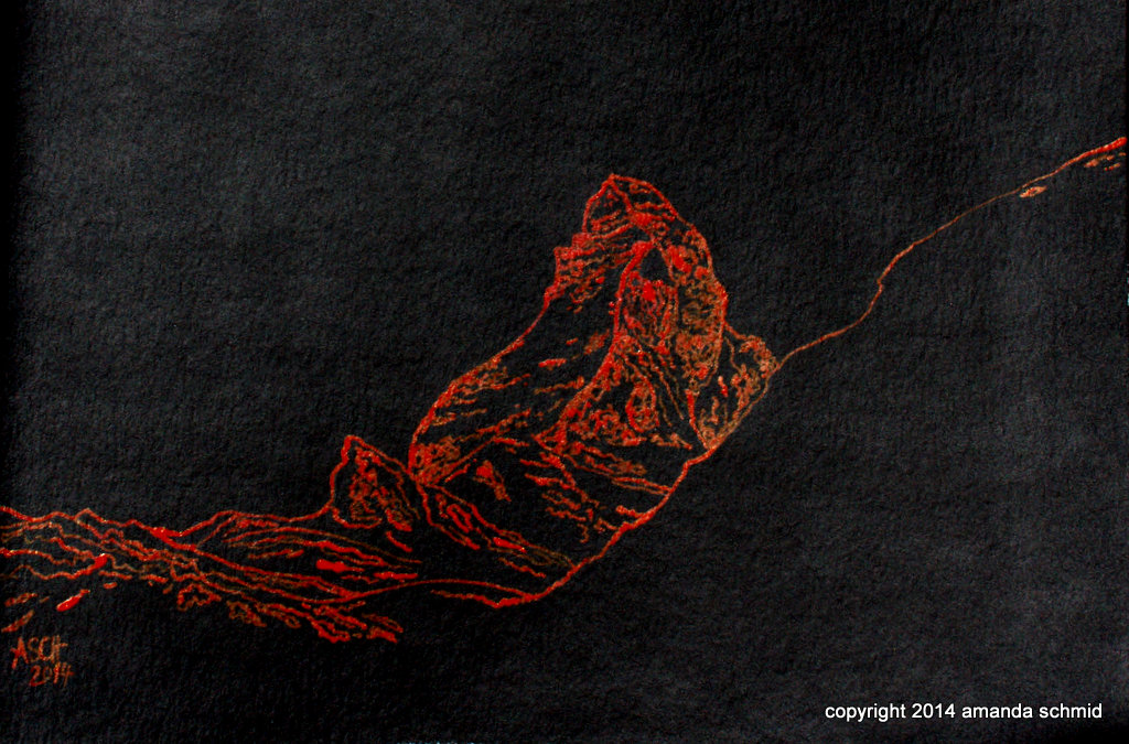 matterhorn acrylic ink on paper